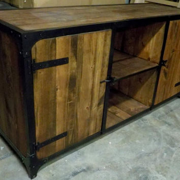 Beautiful Custom Hand Built Steampunk Industrial Media Console Cabinet