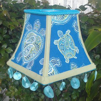 Turtle Lamp Shade Turquoise Olive Square Bell Frame Medallion Rope Grosgrain Handmade Trims Washer Top