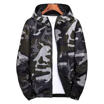 Windbreaker Jackets Men Military Camouflage Mens Hooded Jackets Coats Both Side Wear Male Zipper Lightweight Bomber Jackets