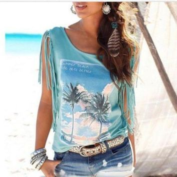 DCC3W Fashion Tassel Coconut Tree Blouse Shirt Top Tee