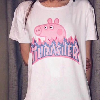 """Thrasher"" Fashion Gucci Peppa Pig Unisex Casual Summer Spoof Print Short Sleeve Round Collar Couple Cotton T-Shirt Pullover Top I-JZP-36"