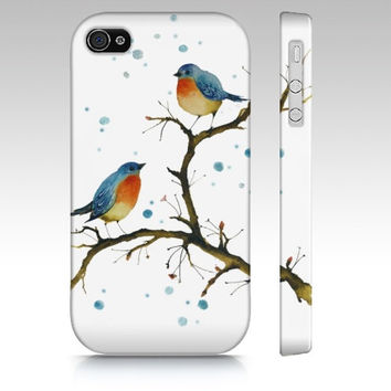 iPhone4 phone case - Warm Inside - watercolor art cute cellphone cover phone hard-case accessory red breasted robins bird painting Oladesign