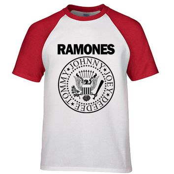Vintage Ramones Retro Logo American Punk Rock Band Music Tour Biker T-shirt Men Cotton Raglan Sleeve tees top