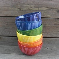 Set of Six Colorful Rainbow Swirly Tie Dye Ceramic Ice Cream or Cereal Bowls