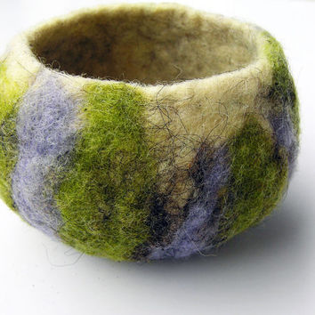 Small felted bowl- wet felted wool vessel- eco friendly home decor- felted bowl- rustic- organic- gift for home- violet, green and beige