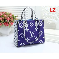 """Louis Vuitton ""New print color matching large fashion casual wild large capacity handbag"