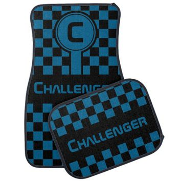 Any Color or Name Circle Initial Checkered Flag Car Mat