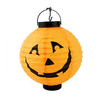 Random Color Pumpkin Light Halloween Decoration New Convenient Hanging Paper Lantern Lamp Outdoor Party Supplies