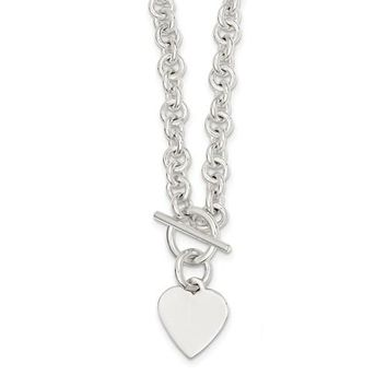 925 Sterling Silver Fancy Heart Toggle Necklace