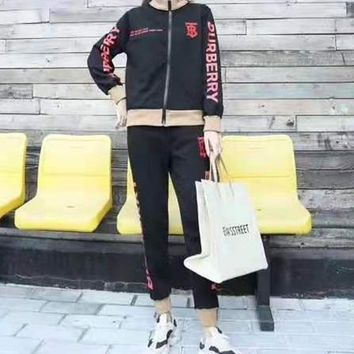 """""""TB""""Woman Leisure Fashion Wild Letter Printing Zipper Spell Color Long Sleeve Tops Elastic Band Trousers Two-Piece Set Casual Wear Sportswear"""