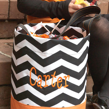 Halloween Candy Trick or Treat Chevron Tote Bag Bucket  - Black Orange Personalized Monogrammed