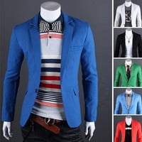 New Arrival Single Button Leisure Blazers Men Male Fashion Slim Fit Casual Men Suit Solid Blazer Dress Clothing 6 Colors
