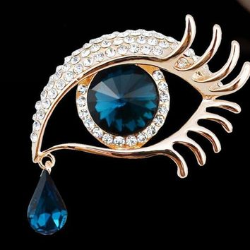 High Quality Rhinestone Crystal big Eye Brooches for wedding party ladies waterdrop Angel  Brooches pins for women jewelry