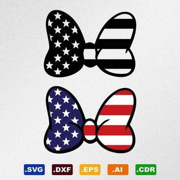 Minnie Mouse Bow USA Flag Svg, Dxf, Eps, Ai, Cdr Vector Files for Silhouette, Cricut, Cutting Plotter