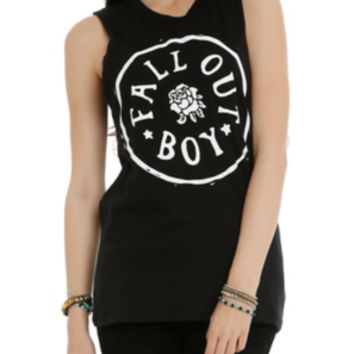 Fall Out Boy Circle Logo Girls Muscle Top