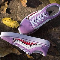 Best Online Sale BAPE x Vans Old Skool Custom 17ss SHARK MOUTHS Low Purple Sneakers Co