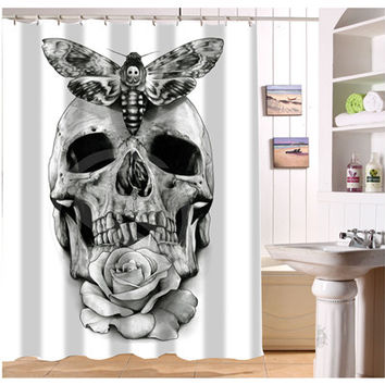 New Custom Black white Skull Tattoo Shower Curtain Modern Design bath decor Waterproof curtains