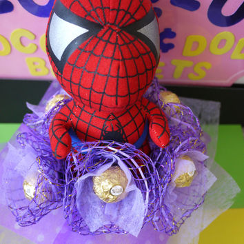 Spiderman Plush Doll Flower Bouquet with Ferrero Rocher Chocolates. Superhero Birthday/Christmas gift!!