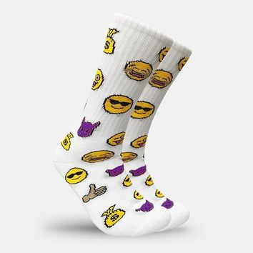 Emoji Face White Crew Socks