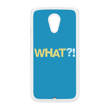 WHAT White Hard Plastic Case for Moto G2 by Blunt Cards