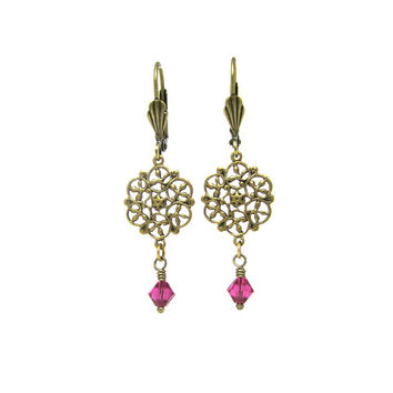 Lightweight Earrings - Magenta Hot Pink Fuchsia - Gold Tone Victorian Lace Brass Jewelry - Swarovski Crystal Elements