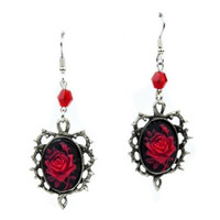 Red Rose Cameo Thorn Gothic Earrings