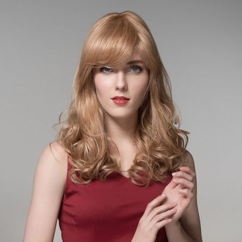 Charming Long Wave Curly Side Bang Human Hair Wig Virgin Remy Mono Top Capless 8 Colors