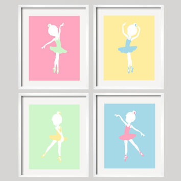 Ballerina Art Prints for Baby Girl Nursery in pastel colors, Custom Colors available, Great Baby Shower Gift, set of four 10x8