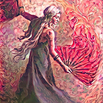 Game of Thrones Original Oil Painting - Daenerys Fan Cosplay Rose - 12x12 to 24x36 painting/poster/canvas; great gift idea