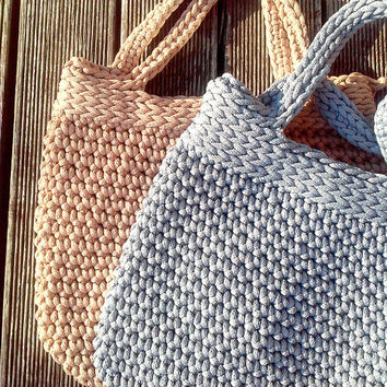 Knitted Bag/ Rope Bag/ Handmade Bag/ Chrochet Bag Bolso/ Beach Bag/ Summer Handbag