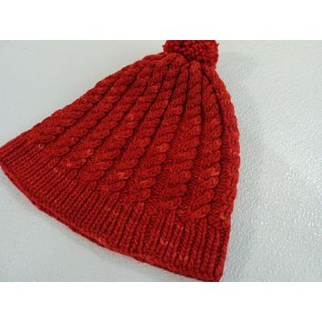Handcrafted Beanie Knitted Hat Red Pom Pom Cable Stitch 100% Merino Wool Female -- New No Tags