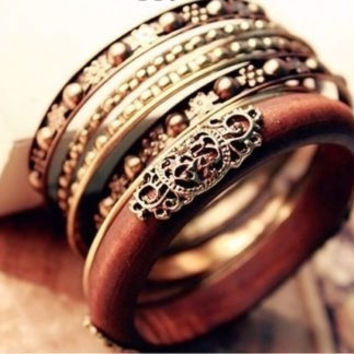 Hot Woman Vintage Wood Carved Multi Bangle Wristband Cuff Bangle Bracelets (Color: Brown) = 1946707268