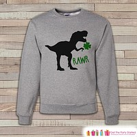 Adult St. Patrick's Day Shirt - Funny Mens St. Patrick's Day Sweatshirt - Dinosaur St Paddy's Day - St. Patrick's Grey Adult Sweatshirt