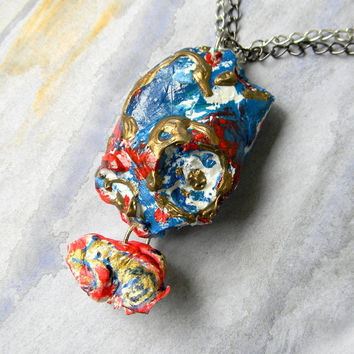 Earth Planet Pendant Clay sculpture blue ice red ice age necklace abstract jewelry geometric jewelry white galaxy conceptual wearable art