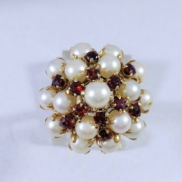 Vintage 1950s Emperor Style Pearl Garnet Ring Yellow Gold January June Birthstone Tracy B Designs Custom Jewelry