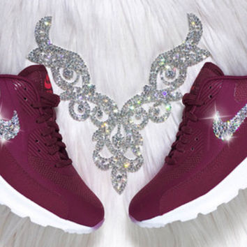 Swarovski Nike Shoes Bling Nike Air Max Thea Shoes Night Maroon Burgundy Customized with Swarovski® Rhinestone Crystals Authentic New In Box
