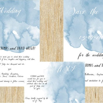 Wedding invitation suite watercolor / watercolor Save The Date RSVP cards blue splashes personalised invite DIY printable digital file
