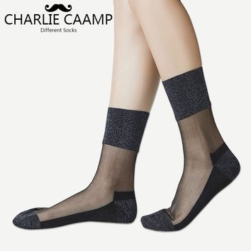 CHARLIE CAAMP 2018 Spring And Summer New Nylon Sexy Gold And Silver Trend Of The Wild Series Of Ladies Crystal Lace Socks 6005