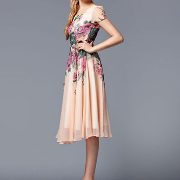 Pink Floral Print Knee-Length Chiffon Vintage Dress