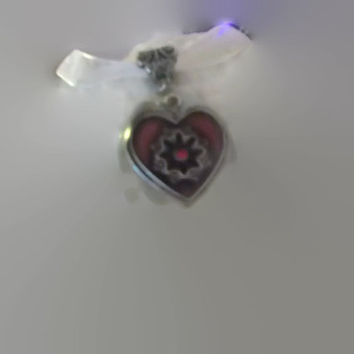 Red and Silver Large Heart Oval Resin Pendant with White Ribbon Necklace Handmade Jewelry Valentines Day Love Missy69