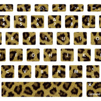 Brown and Black Cheetah Print Macbook Keyboard Stickers