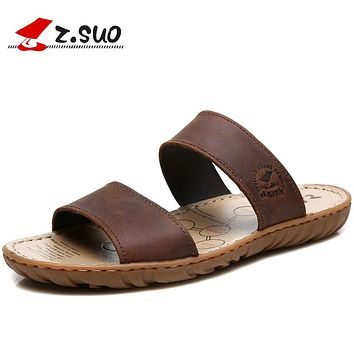 Summer Men Outdoor Slippers Waterproof Beach Shoes Men Genuine Leather Couple Lover Sandals Slide