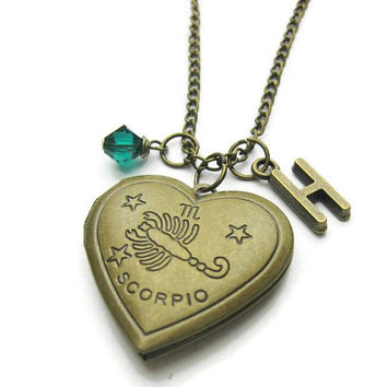 Scorpio Locket, Zodiac Locket, Scorpio Zodiac Locket, Scorpio Necklace, Zodiac Necklace, Birthstone Necklace, Personalized