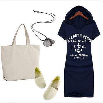 Summer Casual Hooded Dress Women Fashion Print Letters Anchors Dresses Girls Short Sleeve Plus Size Hooded Vestidos HO659167
