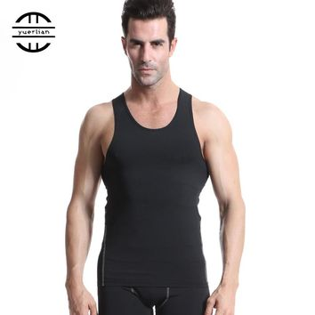Men Compression Tank Tops Bodybuilding Fitness Men's GYM Tank Tees Undershirts Male Shirts Sleeveless Sports Running Vest 7Color