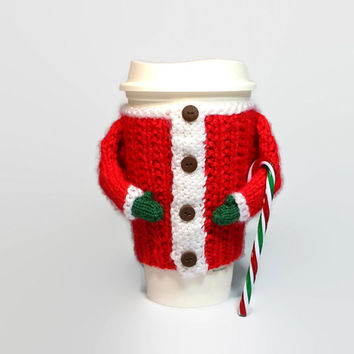 Xmas coffee sleeve. Christmas gift. Travel mug cozy. Cup sleeve. Mug sweater. Stocking stuffer. Secret Santa. Coworker gift. Coffee cozy