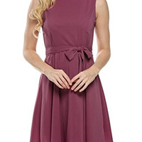Rouge Sleeveless Self-Tie Chiffon Pleated Dress