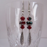 Red Faceted Crystal and Silver Leaf Earrings