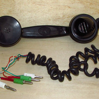 "Vintage Signal  Handset Telephone ""RWT 491"", Rotary Black Bakelite Phone with Original Plug, Very Rare Industrial Telephone from Poland 50s"