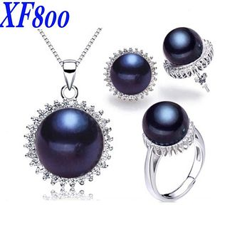 [XF800]Pearl Jewelry 925-Sterling-Silver Natural Freshwater Pearl Jewerly Set Real Necklace Pendant Earrings Rings For Women10